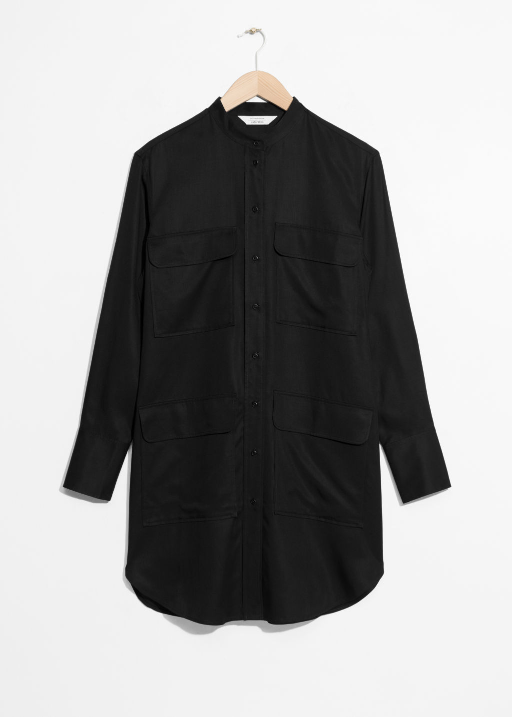 Front image of Stories patch pocket shirt dress in black