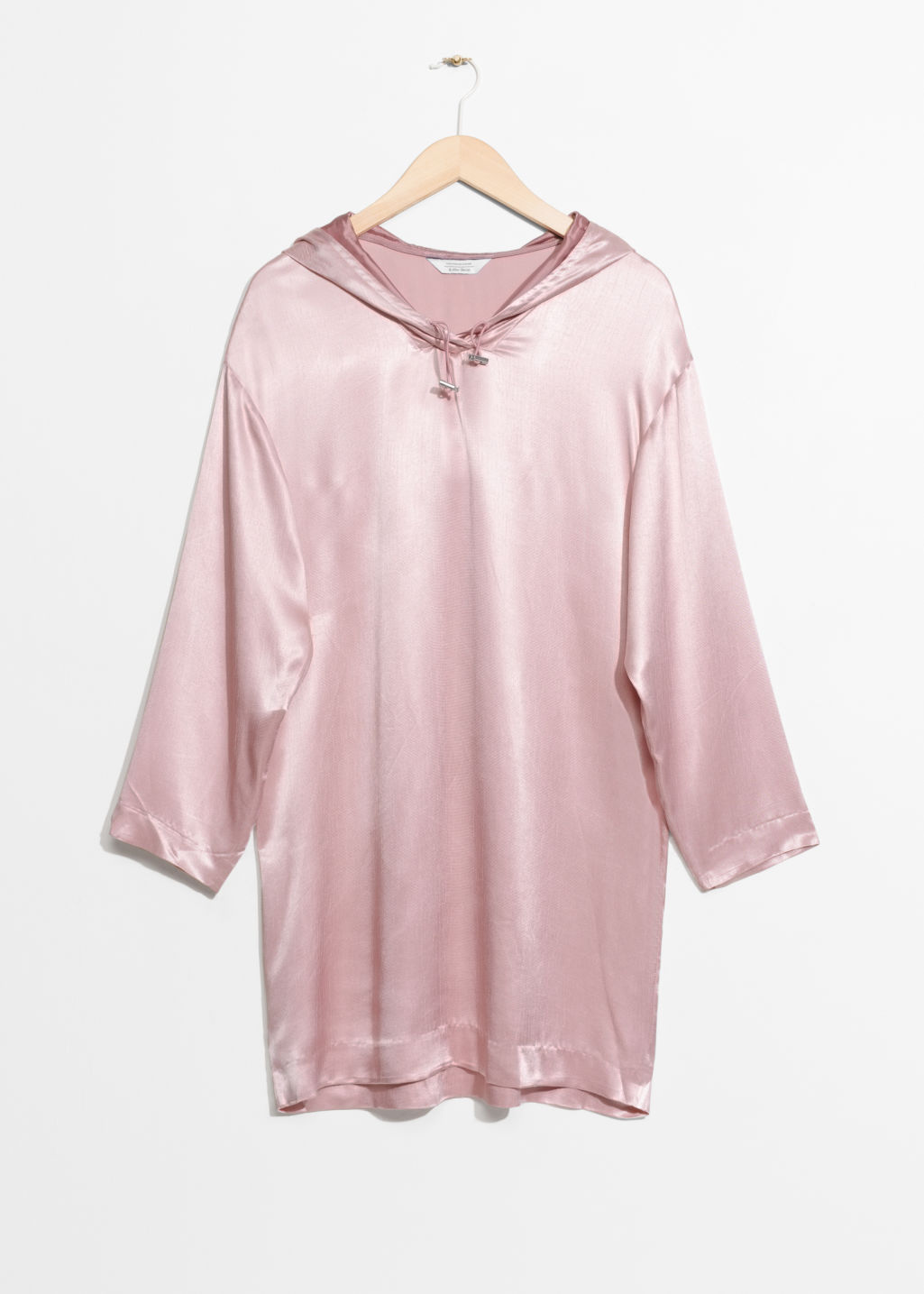 Front image of Stories hoodie dress in pink