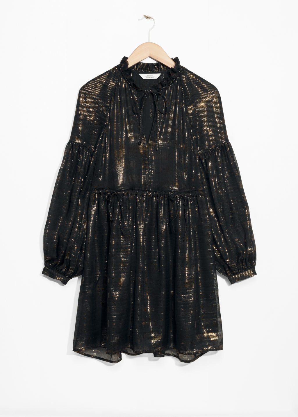 Front image of Stories metallic silk mini dress in black