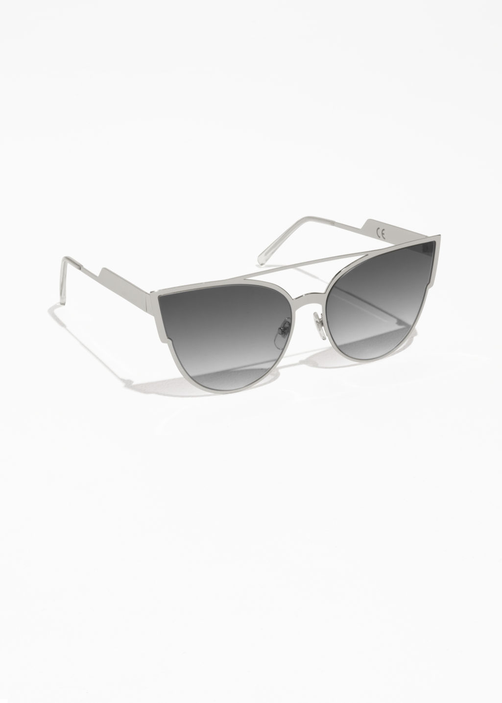 Front image of Stories cat eye sunglasses in silver