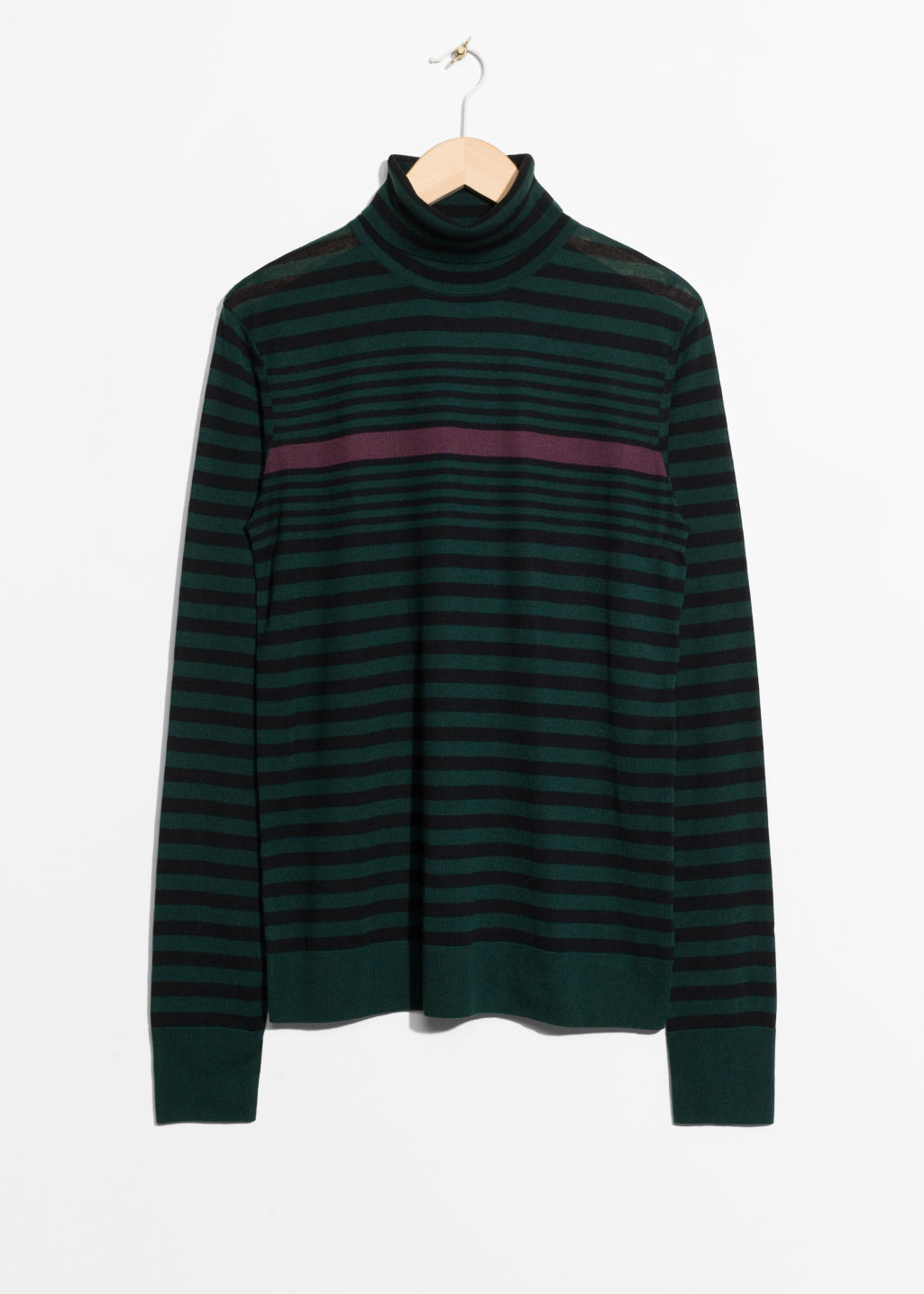 Front image of Stories turtleneck sweater in green