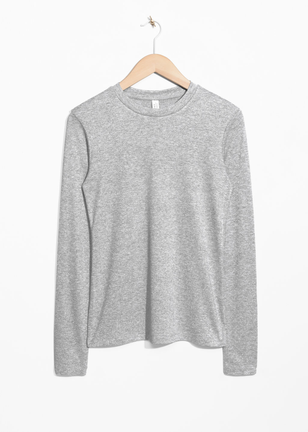 Front image of Stories lurex top in grey