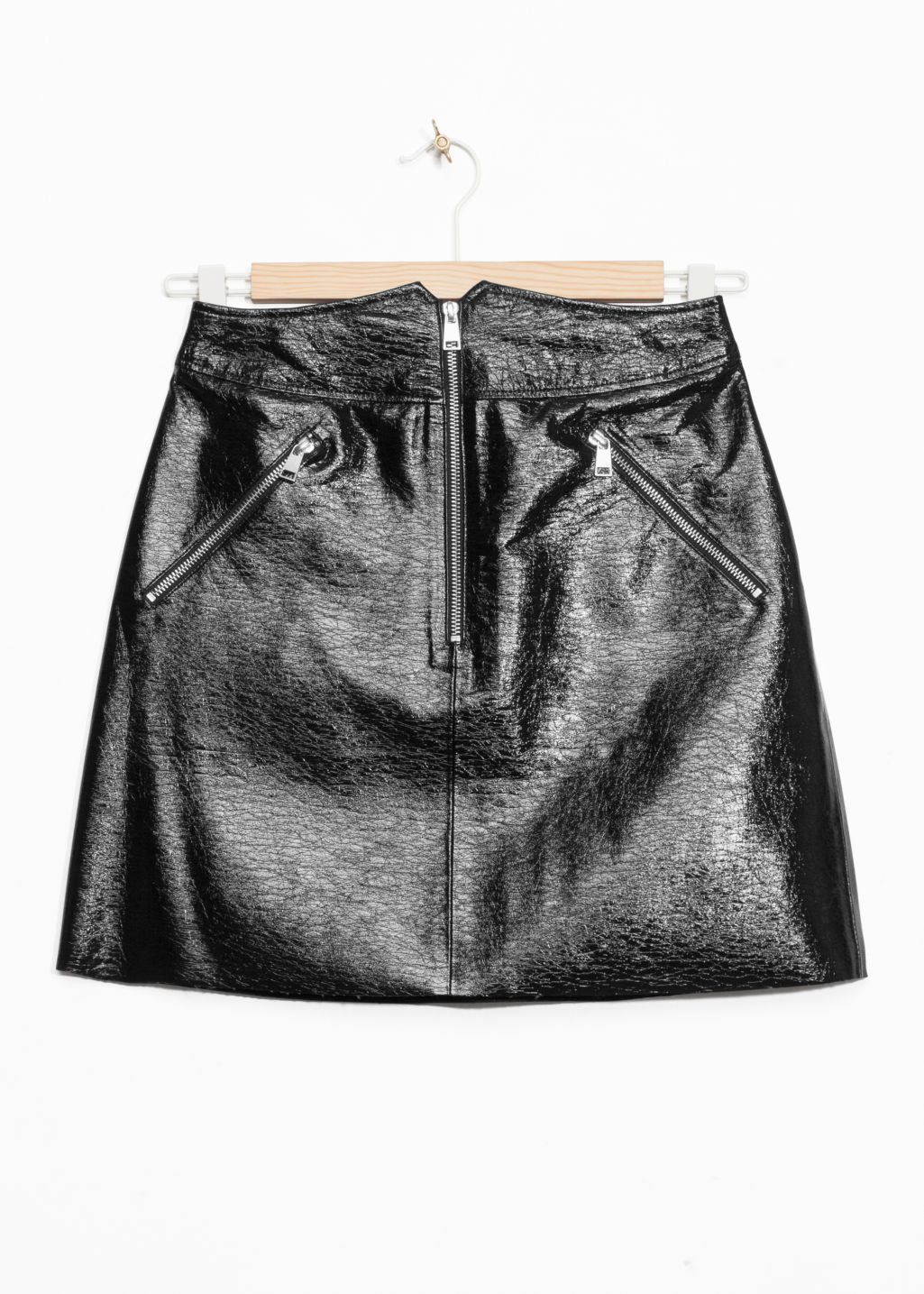 Front image of Stories high waisted leather skirt in black