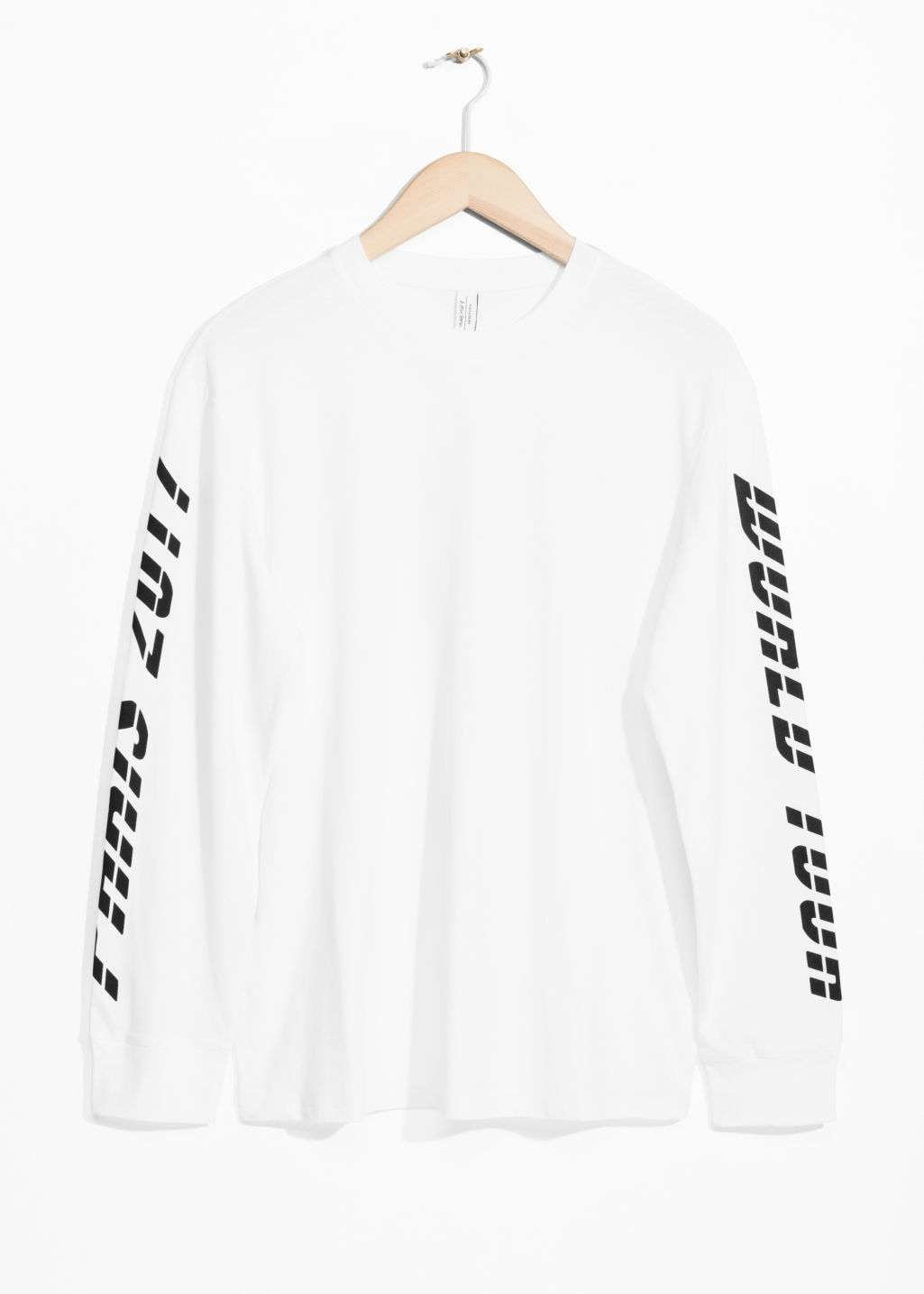 Front image of Stories print sleeve sweater in white