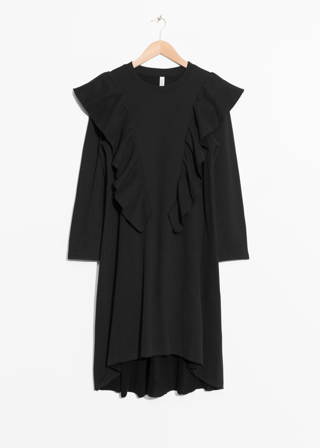 Front image of Stories oversized frill dress in black