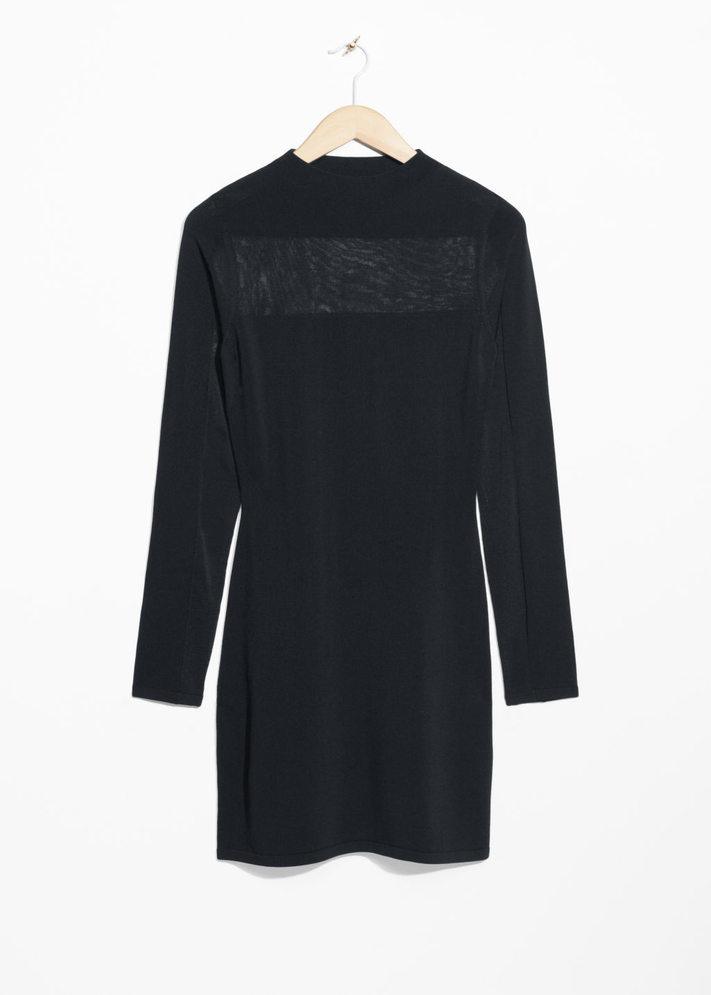 Front image of Stories semi-sheer knit dress in black