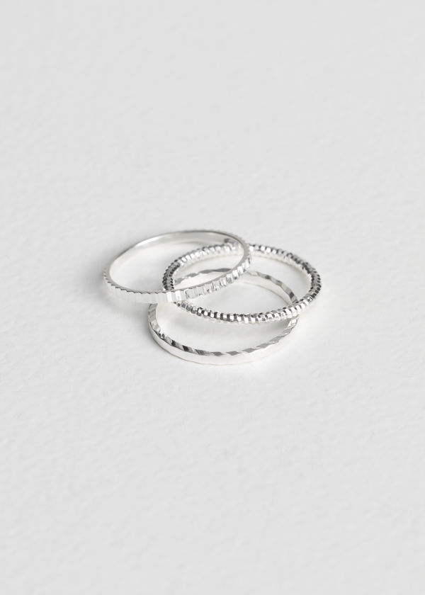 Front image of Stories stack & layer ring set in silver