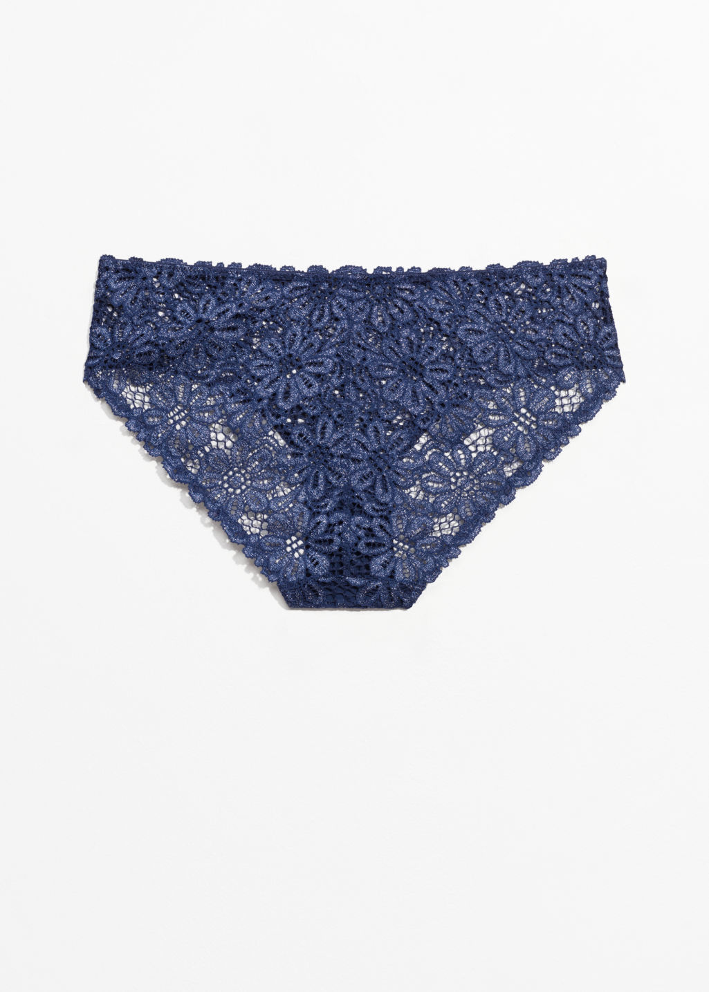 Back image of Stories stretch-lace briefs in blue