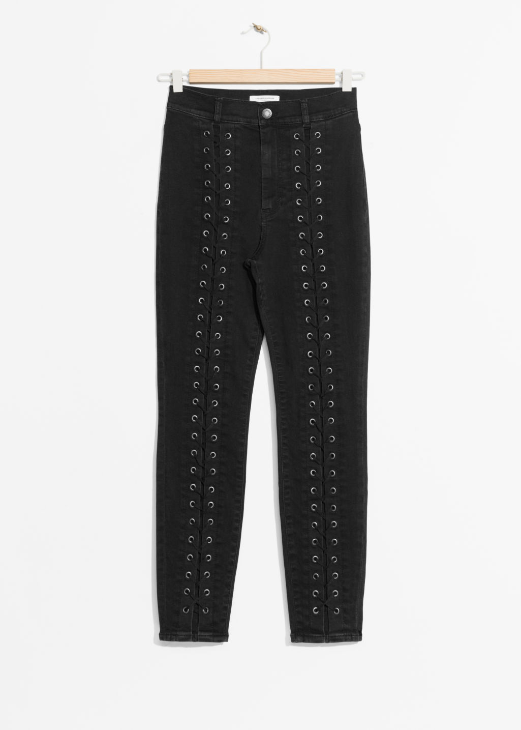 Front image of Stories lace-up denim jeans in black
