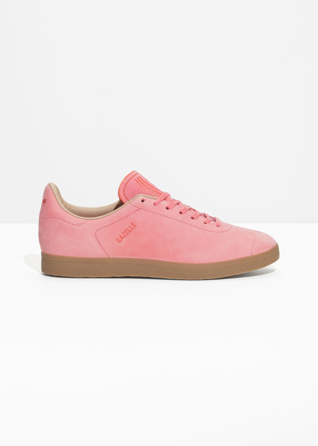 Front image of Stories adidas gazelle decon in pink