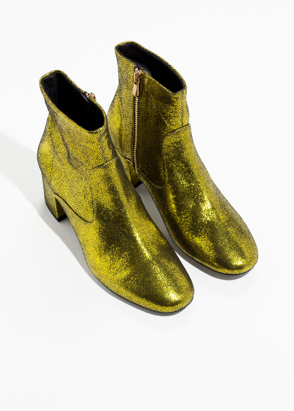 Back image of Stories metallic ankle boots in green