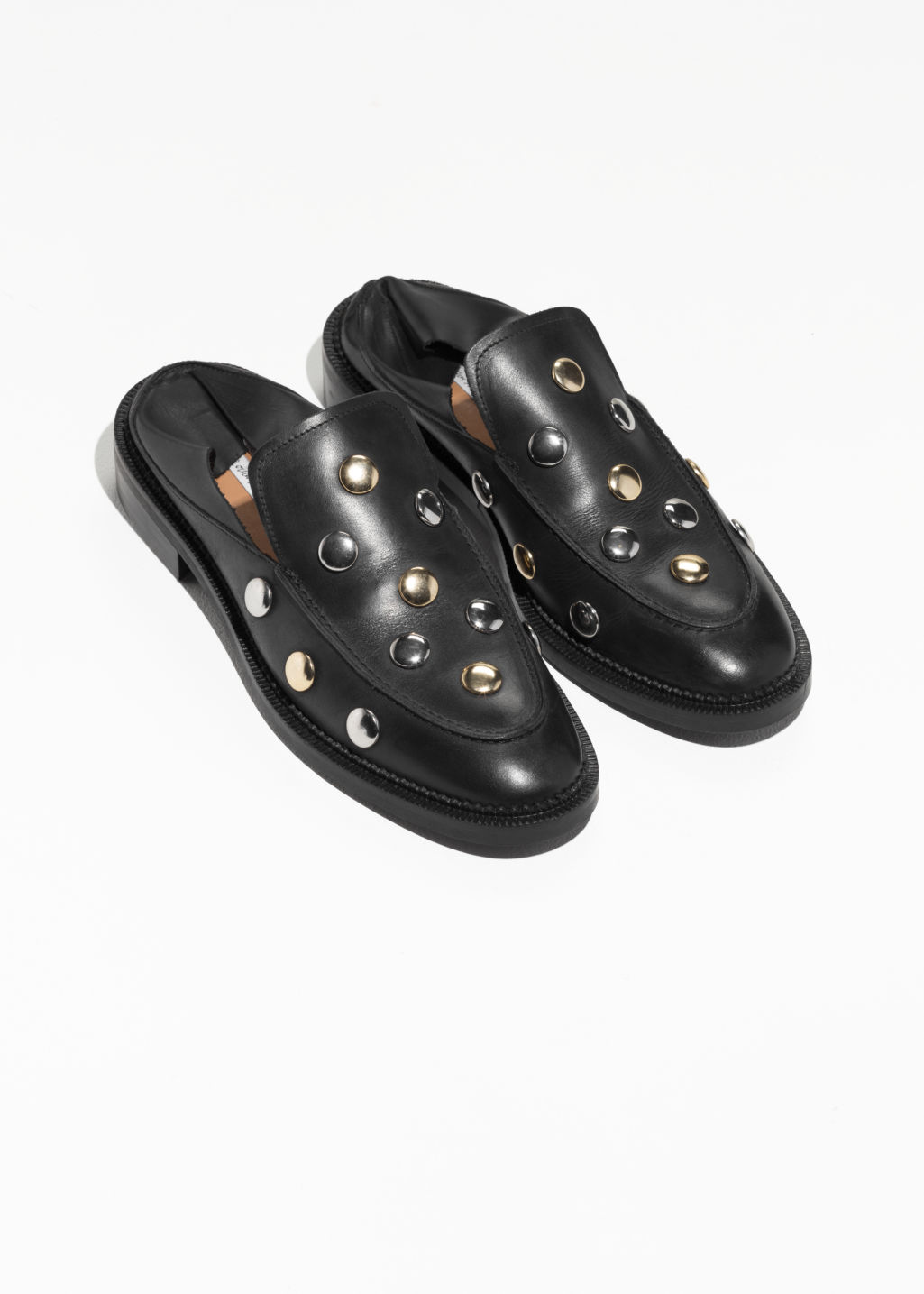 Back image of Stories circle stud loafers in black