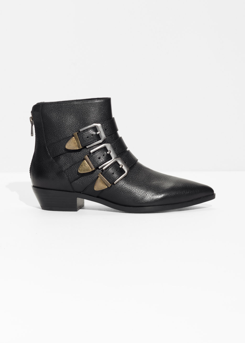 Front image of Stories buckle leather boots in black