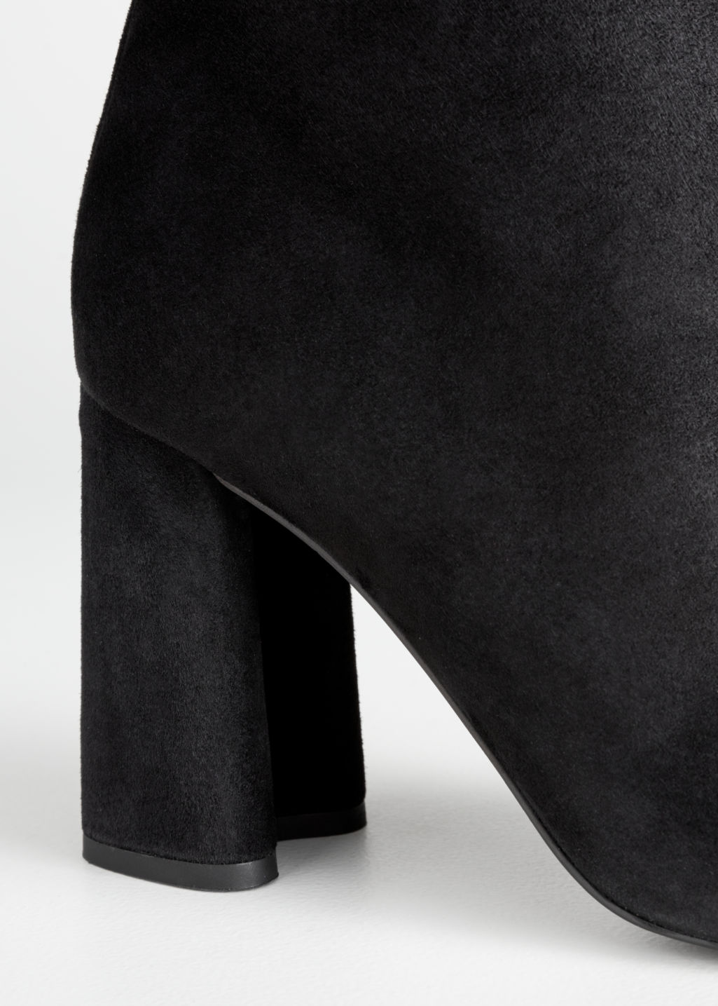 Back image of Stories sculpted heel suede boots in black