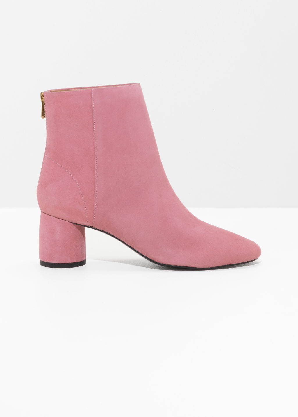 Front image of Stories cylinder heel boots in pink