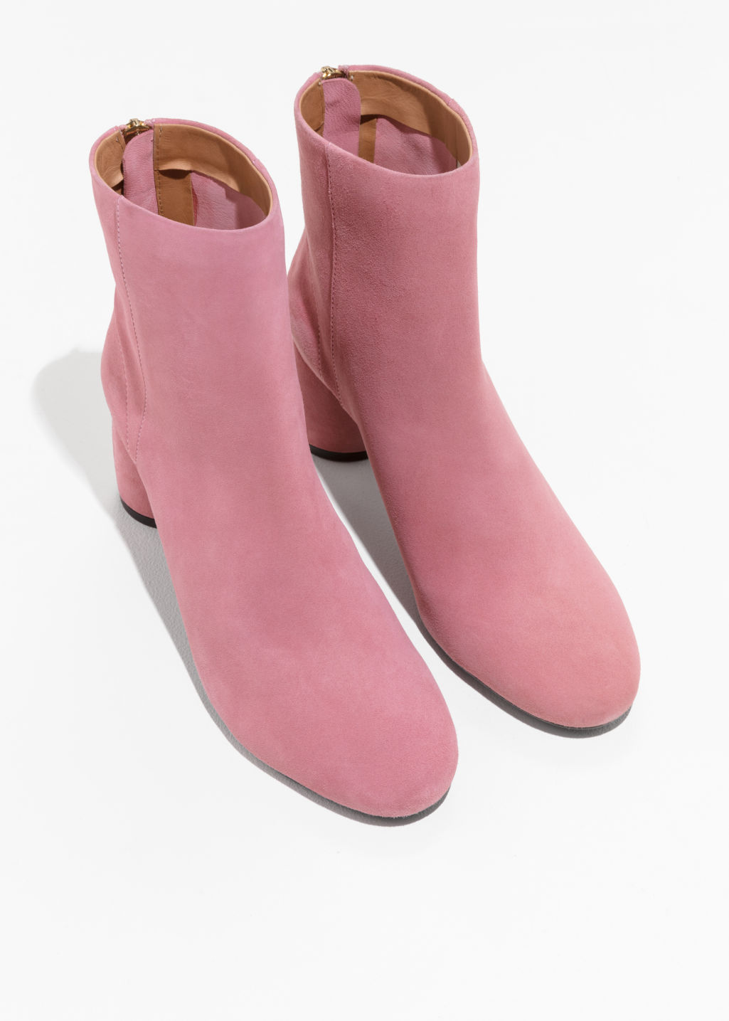 Back image of Stories cylinder heel boots in pink