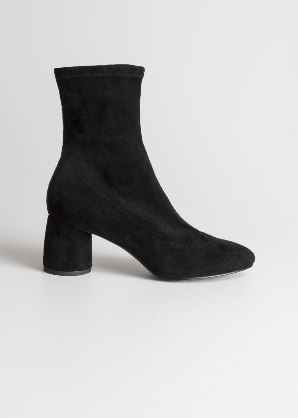 Front image of Stories sock boot in black