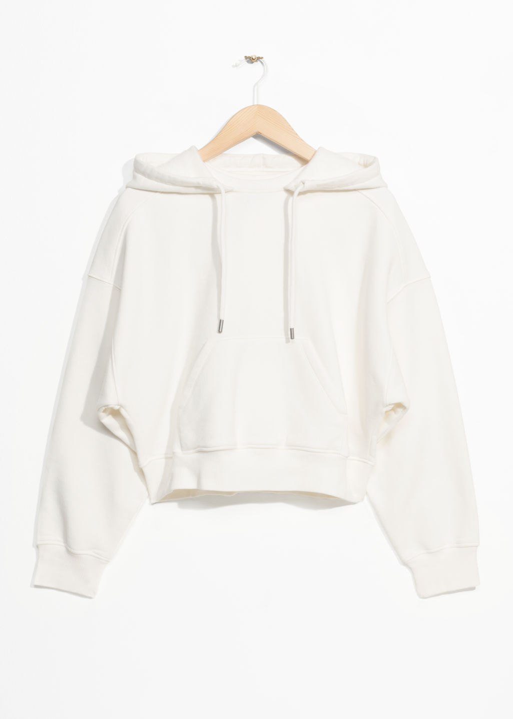 Front image of Stories patch pocket hoodie in white