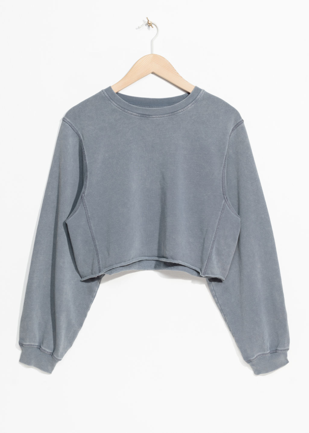 Front image of Stories crop sweater in blue