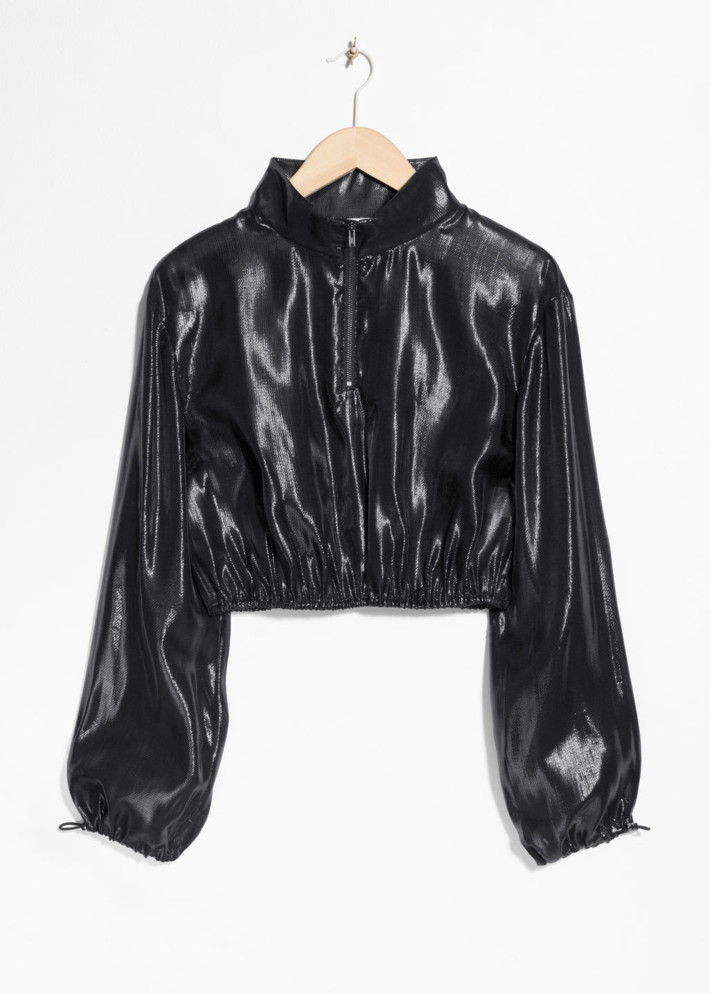 Front image of Stories elastic trim blouse in black