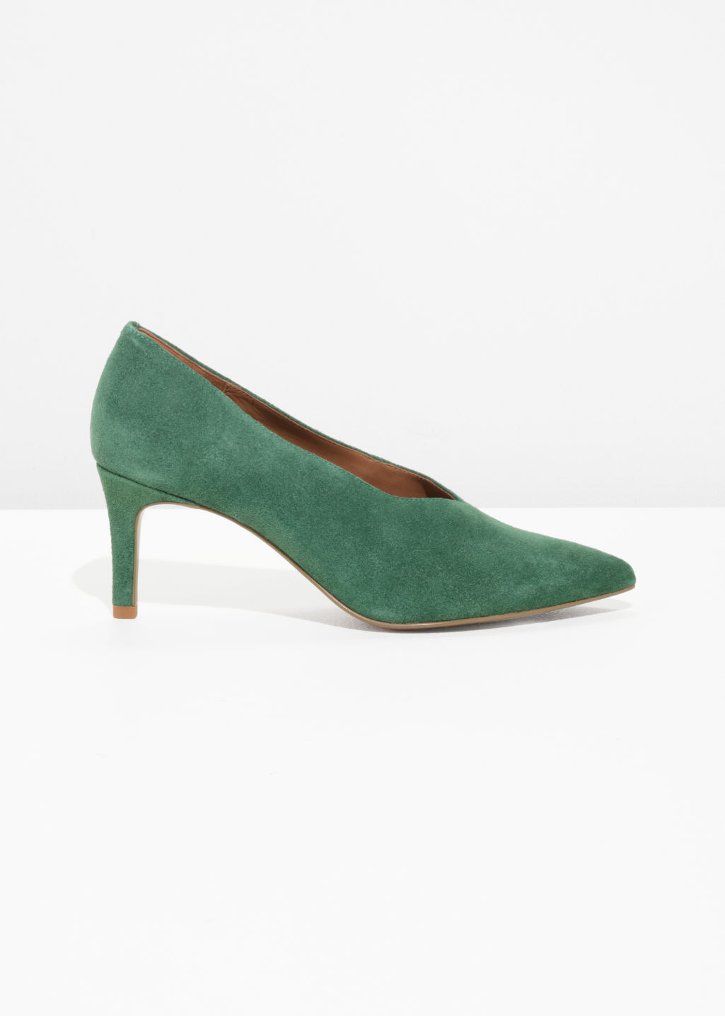 Front image of Stories suede pumps in green