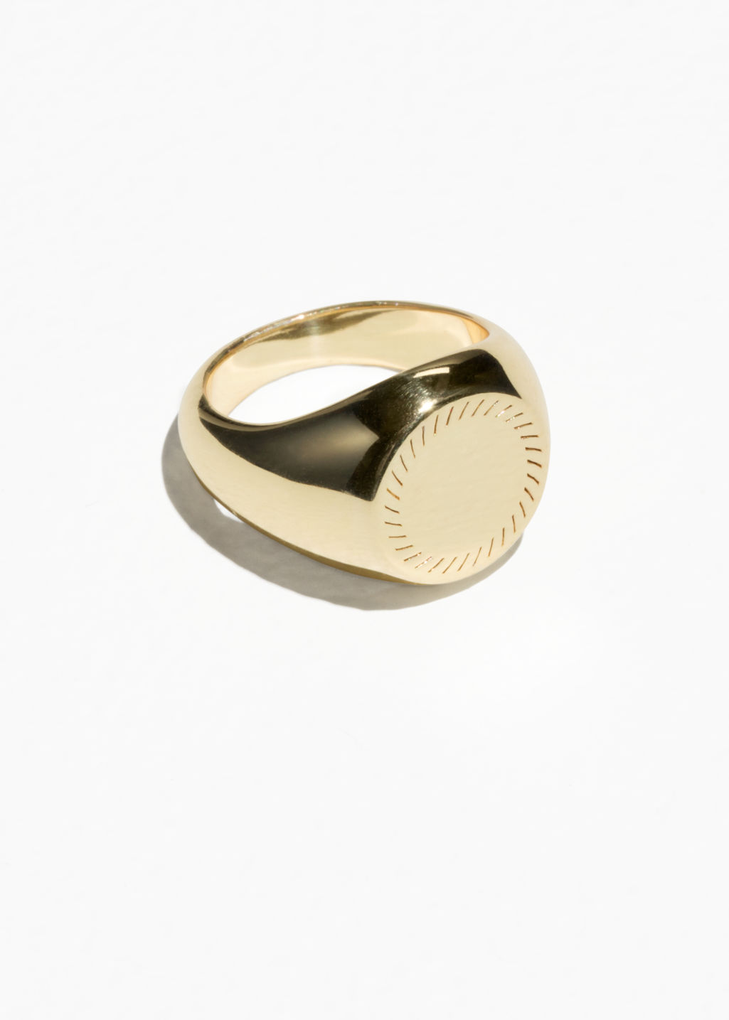 Front image of Stories signet pinky ring in gold