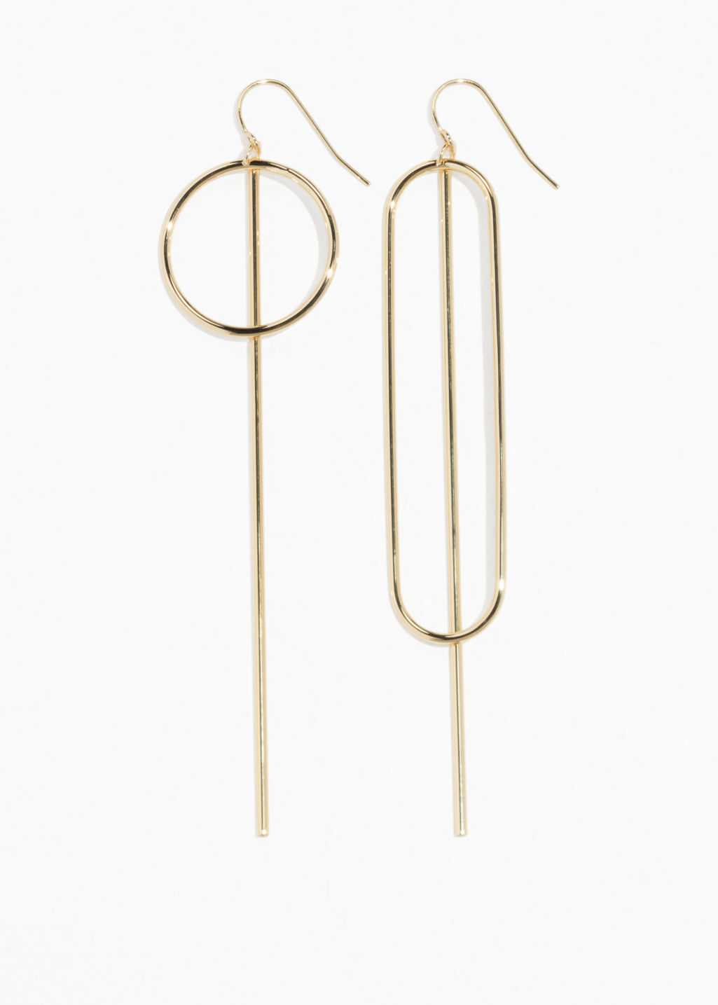 Front image of Stories metal bar earrings in gold