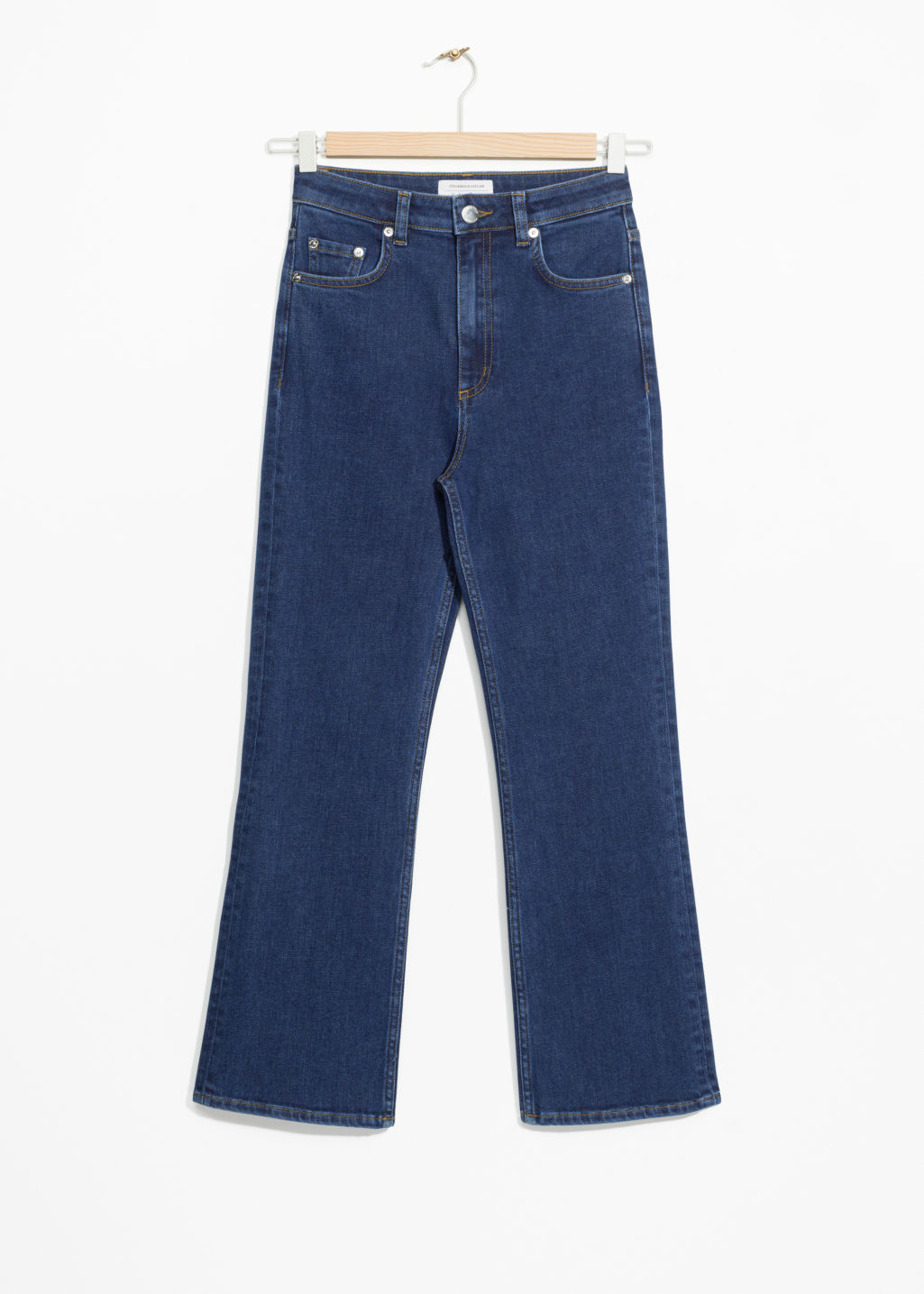 Front image of Stories flare denim jeans in blue