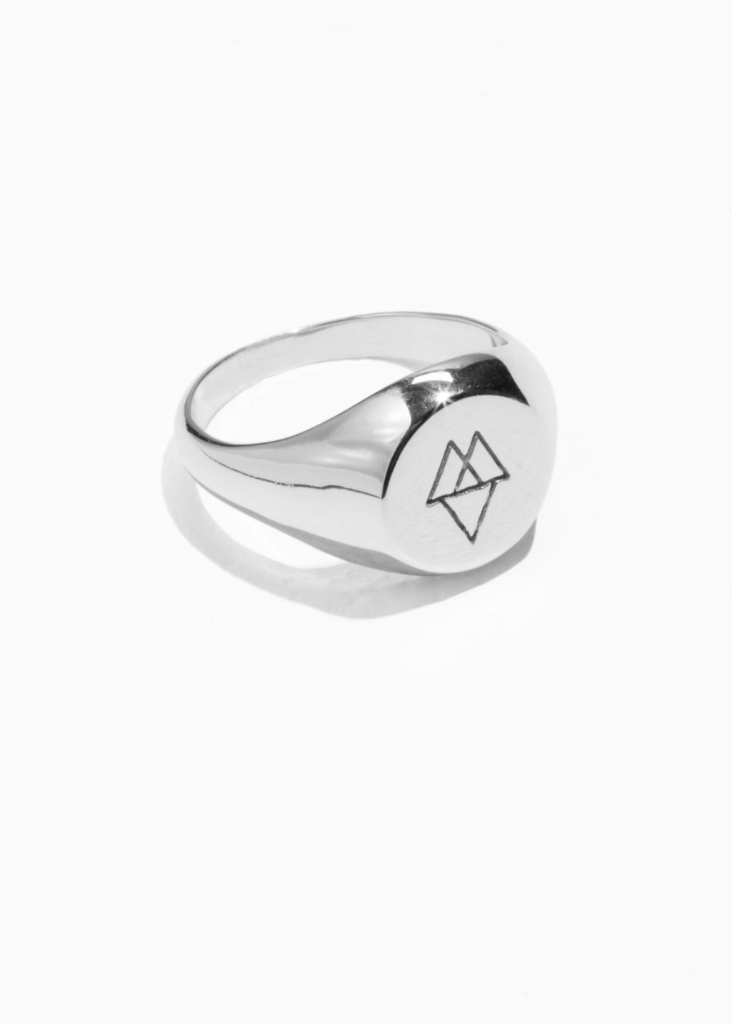 Front image of Stories signet ring in silver