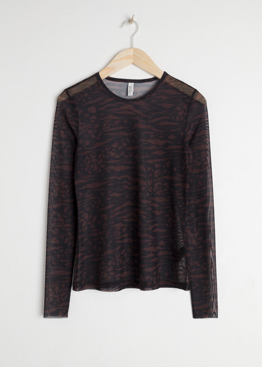 Front image of Stories mesh long sleeve top in brown
