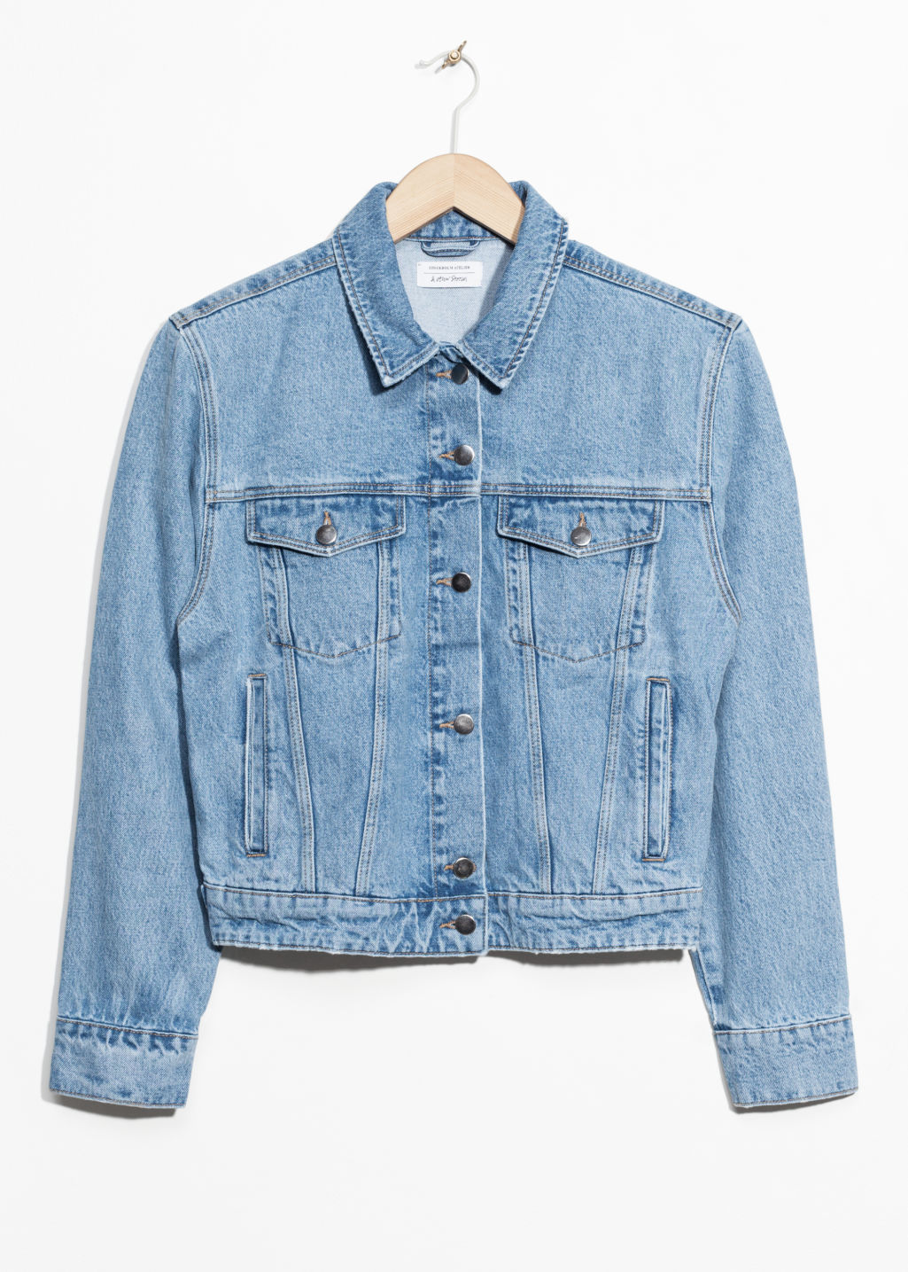 Front image of Stories boxy shoulder denim jacket in blue