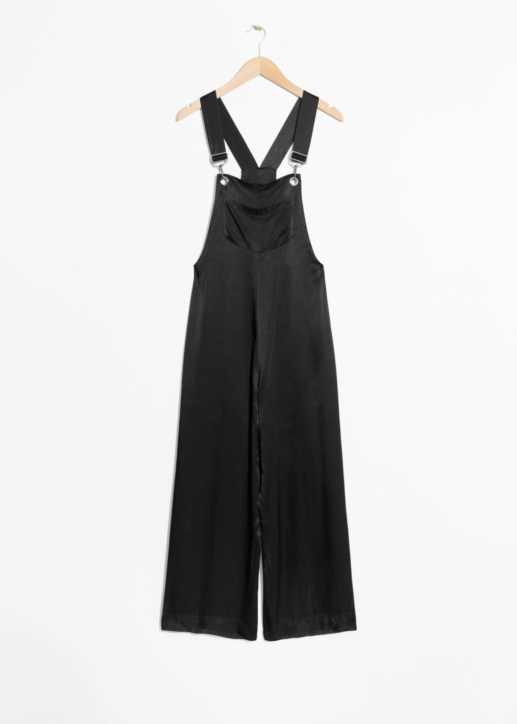 Front image of Stories satin jumpsuit in black