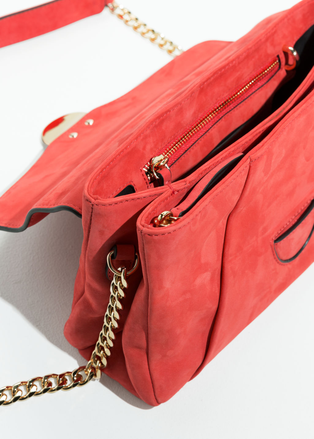 Back image of Stories envelope crossbody bag in red