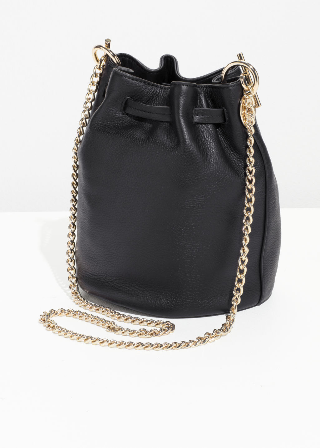 Back image of Stories chain strap bucket bag in black