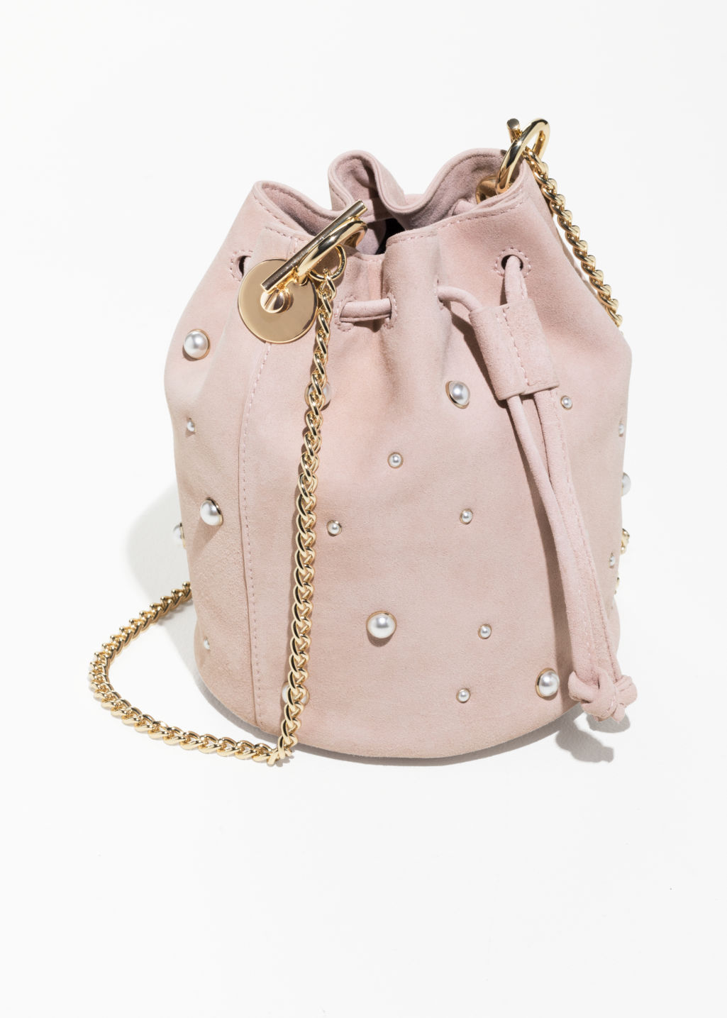 Back image of Stories chain strap bucket bag in pink