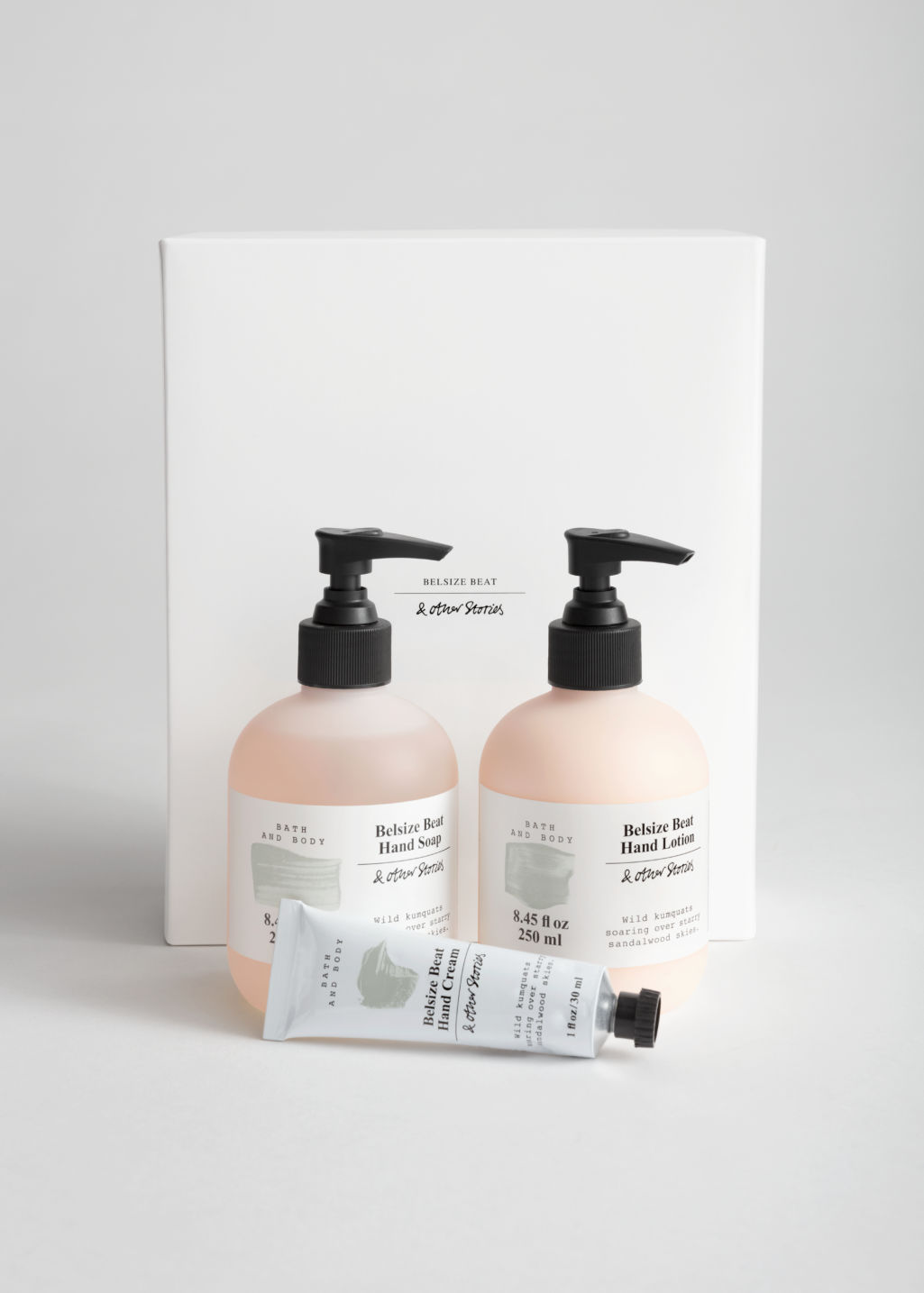 Front image of Stories hand care kit in beige