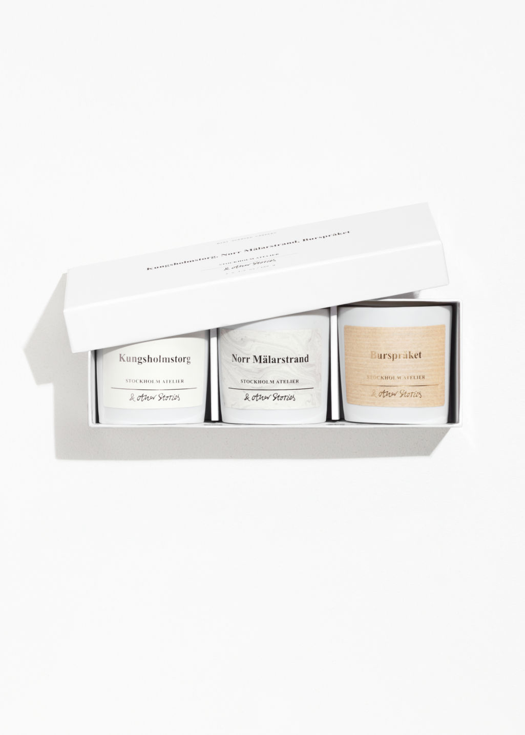 Front image of Stories scented candle kit in white