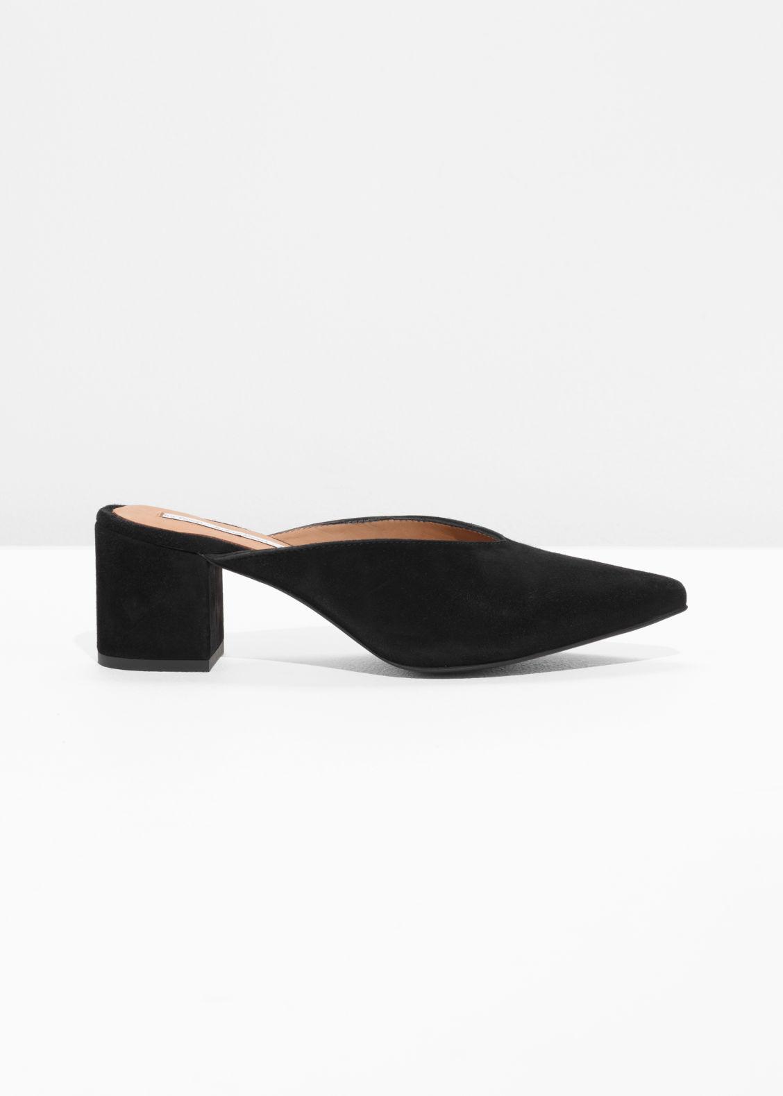 53516074aae Suede Mule Pump - Black - Heeled sandals -   Other Stories