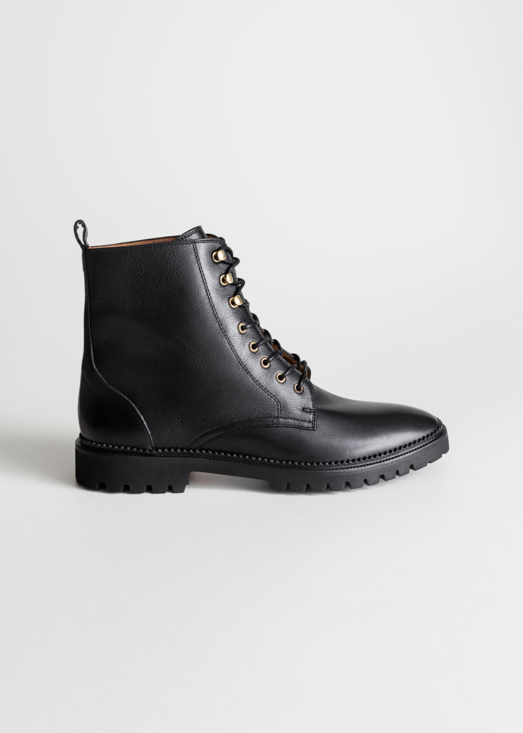 Lace Up Leather Boots Black Ankleboots & Other Stories