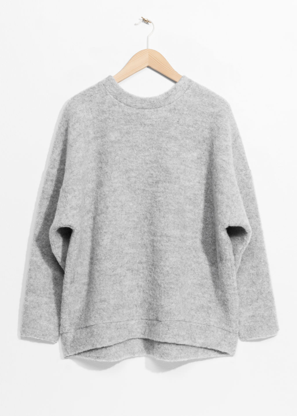 Front image of Stories oversized wool sweater in grey