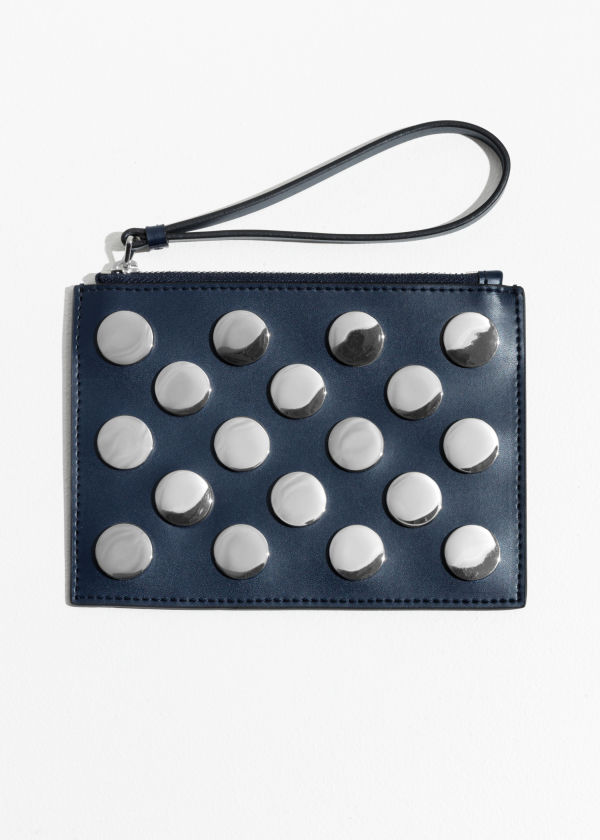 Circle Stud Leather Pouch