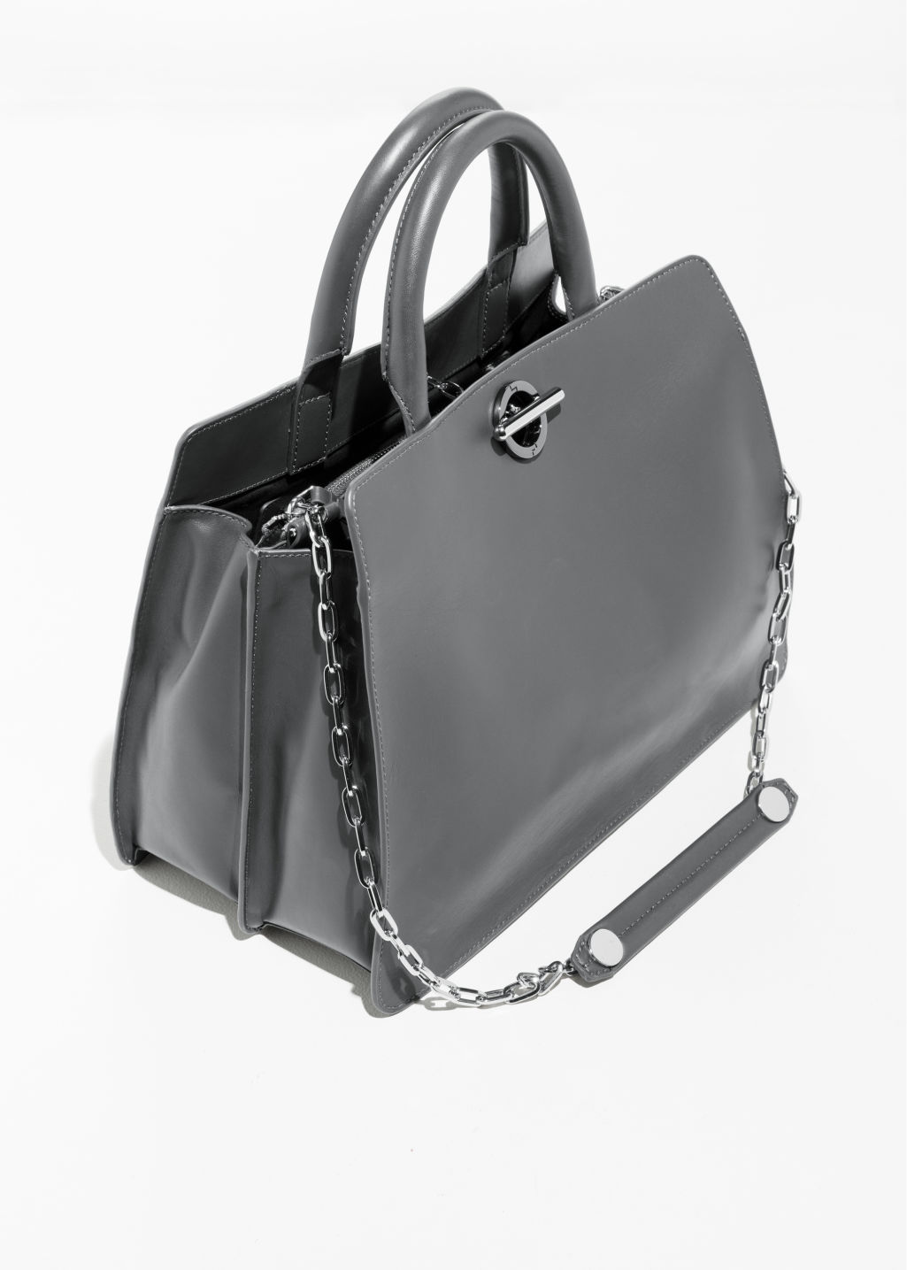Back image of Stories large leather chain bag in grey