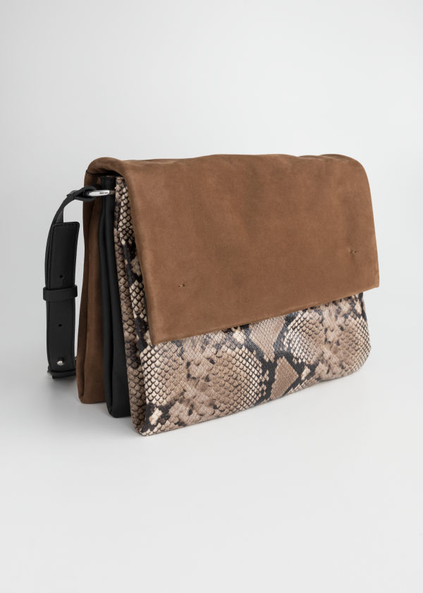 Front image of Stories large leather crossbody bag in beige