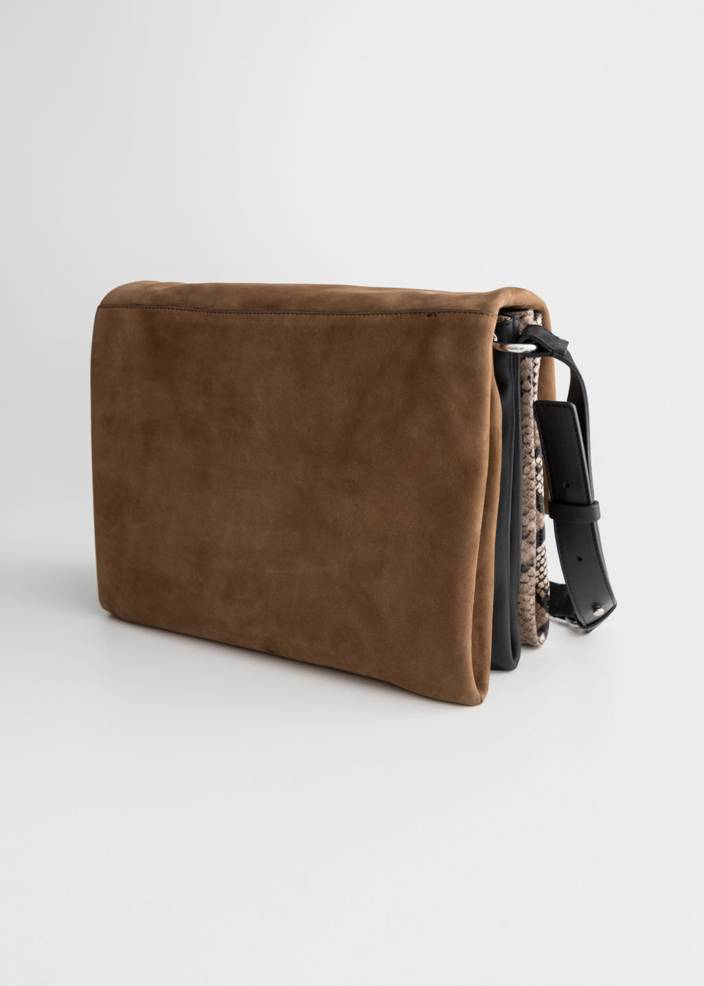 Back image of Stories large leather crossbody bag in beige