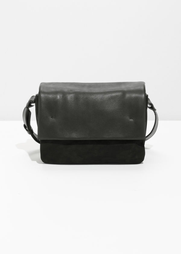 Front image of Stories leather crossbody bag in black