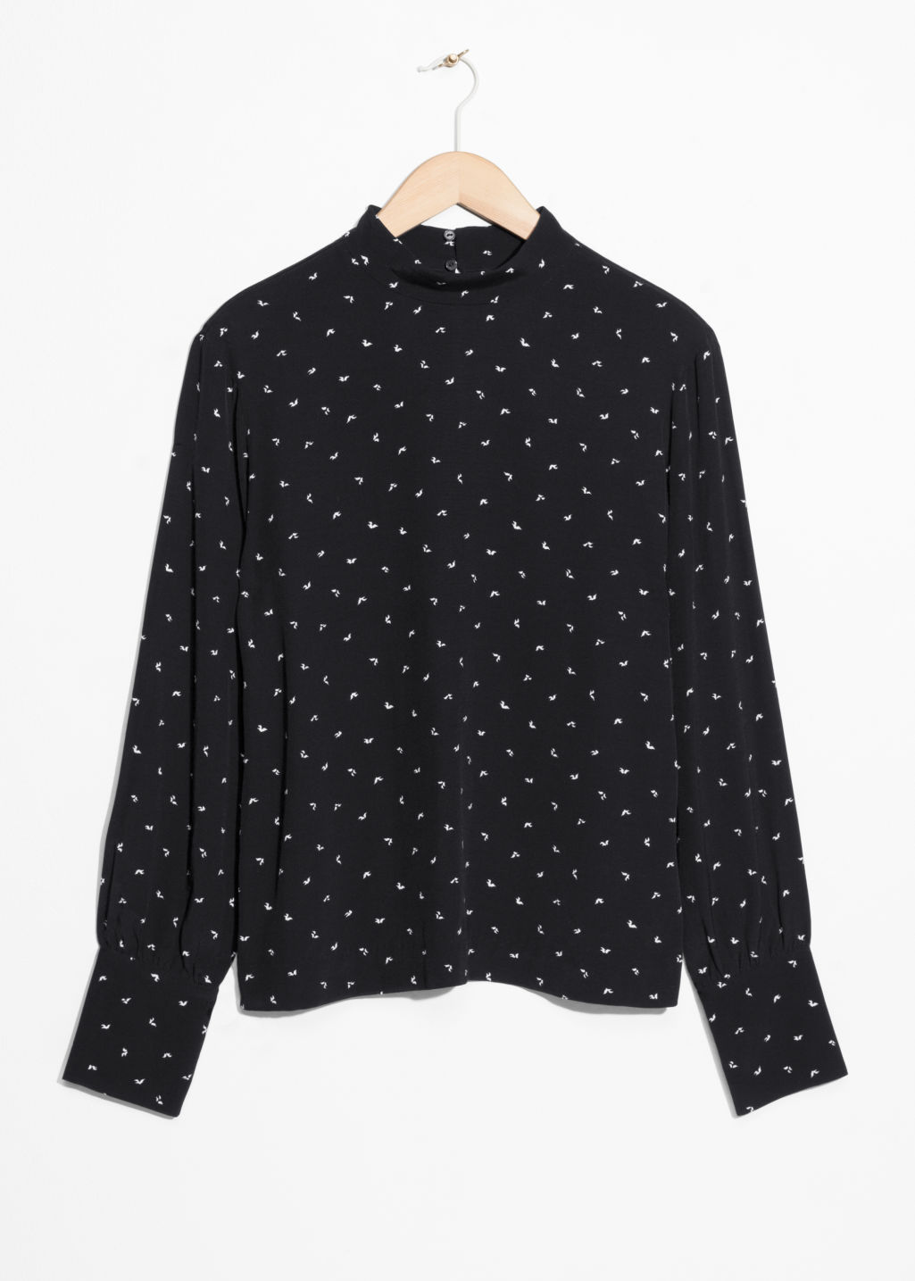Front image of Stories high neck blouse in black