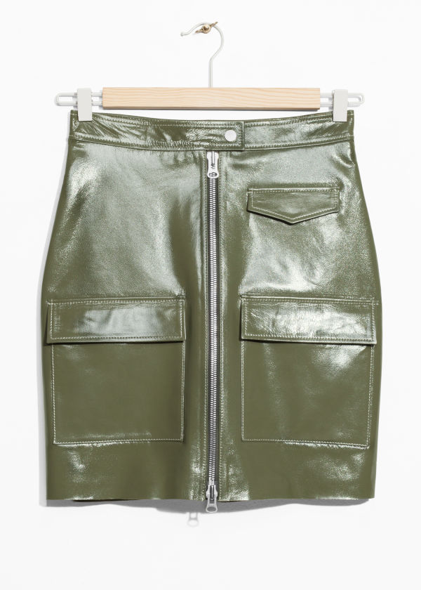 Utilitarian Patent Leather Skirt