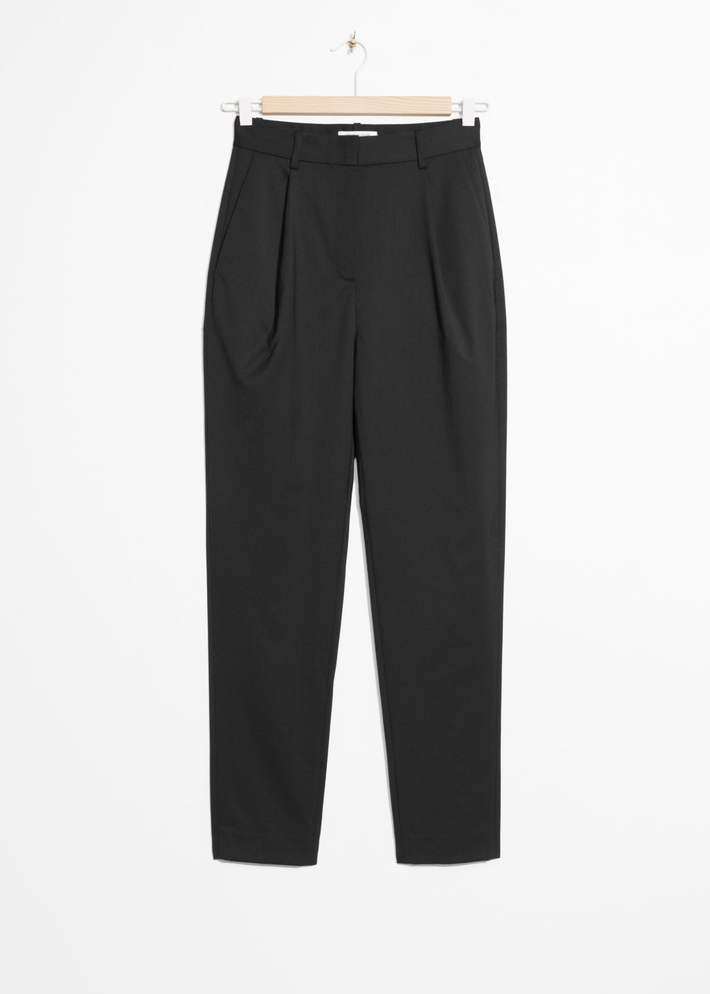 Front image of Stories high waisted tapered trousers in black