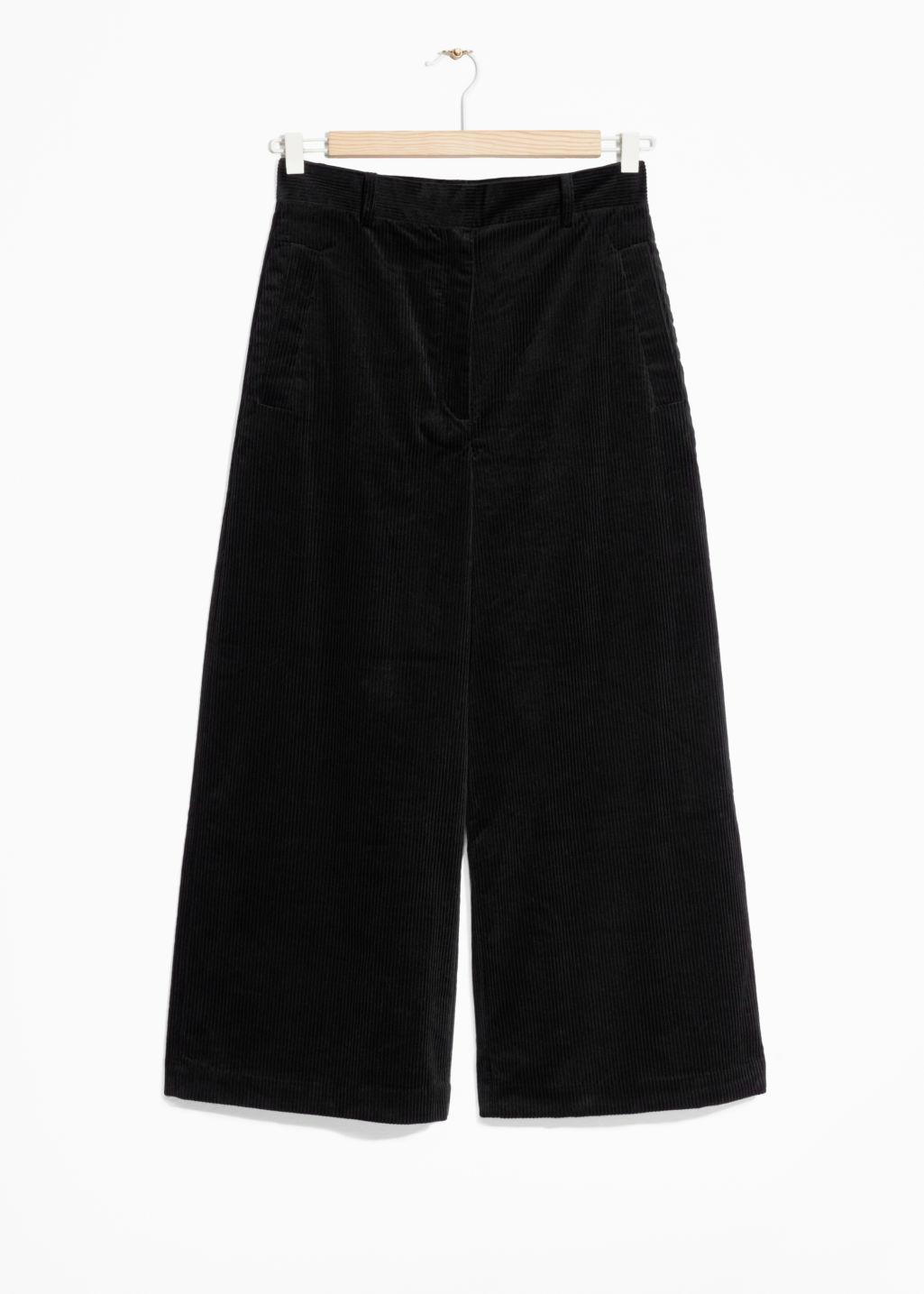 Front image of Stories corduroy culottes in black