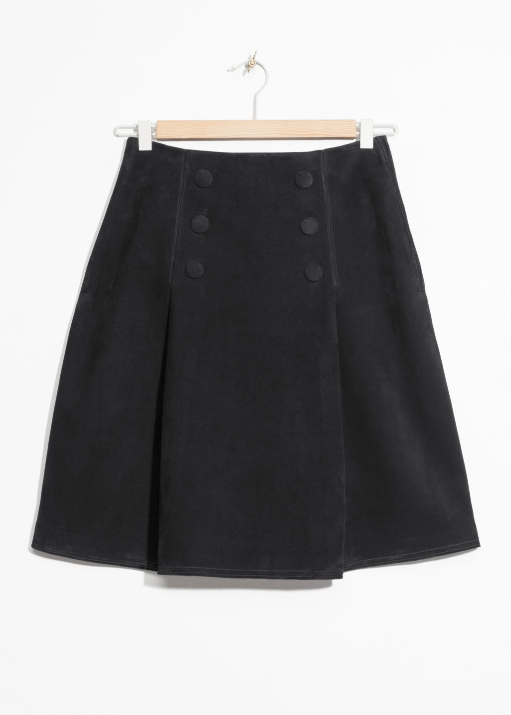 Front image of Stories leather button stud skirt in black